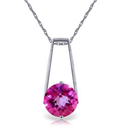 ALARRI 1.45 Carat 14K Solid White Gold If Not A Heart Pink Topaz Necklace