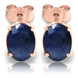 ALARRI 2 Carat 14K Solid Rose Gold Stud Earrings Natural Sapphire