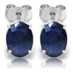 ALARRI 2 Carat 14K Solid White Gold Stud Earrings Natural Sapphire