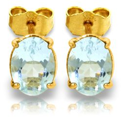 ALARRI 1.8 Carat 14K Solid Gold Stud Earrings Natural Aquamarine