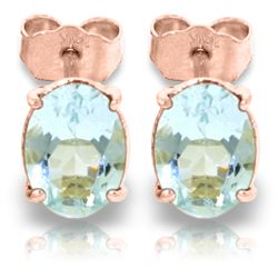 ALARRI 1.8 Carat 14K Solid Rose Gold Stud Earrings Natural Aquamarine