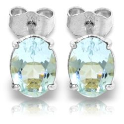 ALARRI 1.8 CTW 14K Solid White Gold Stud Earrings Natural Aquamarine