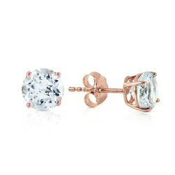 ALARRI 0.95 CTW 14K Solid Rose Gold Petite Aquamarine Stud Earrings