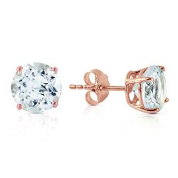 ALARRI 3.1 Carat 14K Solid Rose Gold Anna Aquamarine Stud Earrings