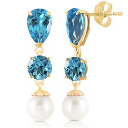 ALARRI 10.5 Carat 14K Solid Gold La Vie Blue Topaz Pearl Earrings
