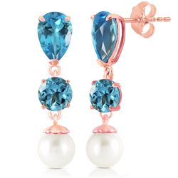 ALARRI 10.5 CTW 14K Solid Rose Gold Drop Earrings Blue Topaz And Pearl