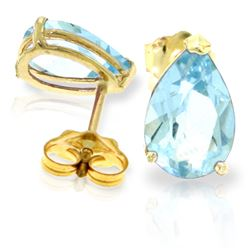 ALARRI 3.15 Carat 14K Solid Gold The Wave Smiled Aquamarine Earrings