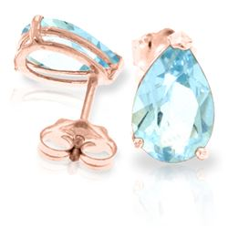 ALARRI 3.15 CTW 14K Solid Rose Gold Allure Aquamarine Stud Earrings