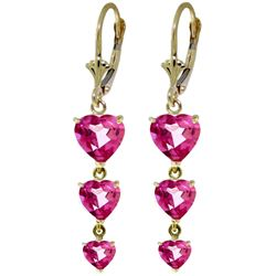 ALARRI 6 Carat 14K Solid Gold Heartthrop Pink Topaz Earrings