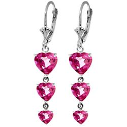 ALARRI 6 CTW 14K Solid White Gold Love Knows No Plots Pink Topaz Earrings