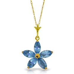 ALARRI 1.4 Carat 14K Solid Gold Stendhal Blue Topaz Necklace