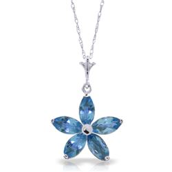 ALARRI 1.4 CTW 14K Solid White Gold Happy Days Blue Topaz Necklace