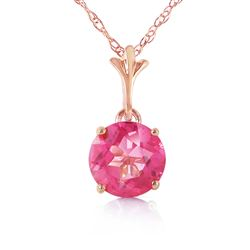 ALARRI 1.15 CTW 14K Solid Rose Gold Single Round Pink Topaz Necklace