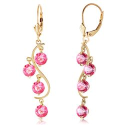 ALARRI 4.95 Carat 14K Solid Gold Chandelier Earrings Natural Pink Topaz