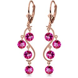 ALARRI 4.95 Carat 14K Solid Rose Gold Chandelier Earrings Natural Pink Topaz