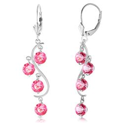 ALARRI 4.95 Carat 14K Solid White Gold Chandelier Earrings Natural Pink Topaz