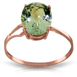 ALARRI 2.2 Carat 14K Solid Rose Gold Ring Checkerboard Cut Green Amethyst