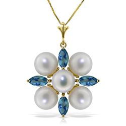 ALARRI 6.3 CTW 14K Solid Gold Grinning Lover Blue Topaz Pearl Necklace