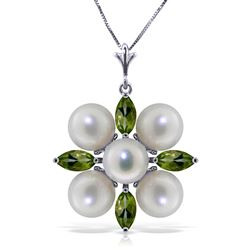ALARRI 6.3 CTW 14K Solid White Gold Hovering Glimmer Peridot Citrine Necklace