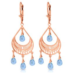 ALARRI 6.75 Carat 14K Solid Rose Gold Filigree Blue Topaz Earrings