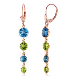 ALARRI 14K Solid Rose Gold Chandelier Earrings w/ Blue Topaz & Peridot