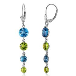 ALARRI 7.8 Carat 14K Solid White Gold Delightful Notes Blue Topaz Peridot Earrings