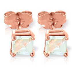 ALARRI 0.8 Carat 14K Solid Rose Gold Caress Aquamarine Stud Earrings