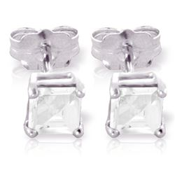 ALARRI 0.8 Carat 14K Solid White Gold Strange Feelings Aquamarine Earrings