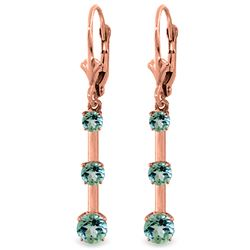 ALARRI 2.5 Carat 14K Solid Rose Gold Aquamarine Bar Earrings