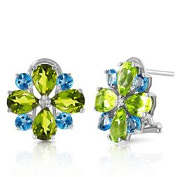 ALARRI 4.85 CTW 14K Solid White Gold French Clips Earrings Peridot Blue Topaz