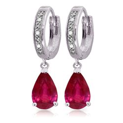 ALARRI 3.53 CTW 14K Solid White Gold Hoop Earrings Diamond Ruby