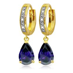 ALARRI 3.53 Carat 14K Solid Gold Hoop Earrings Diamond Sapphire