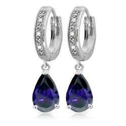 ALARRI 3.53 Carat 14K Solid White Gold Hoop Earrings Diamond Sapphire