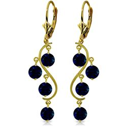 ALARRI 4 Carat 14K Solid Gold Chandelier Earrings Natural Sapphire