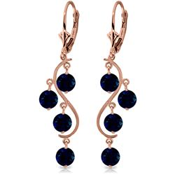ALARRI 4 CTW 14K Solid Rose Gold Chandelier Earrings Natural Sapphire