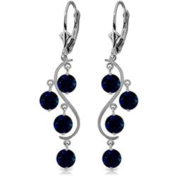 ALARRI 4 Carat 14K Solid White Gold Chandelier Earrings Natural Sapphire