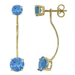 ALARRI 4.3 Carat 14K Solid Gold Stud Drops Earrings Natural Blue Topaz