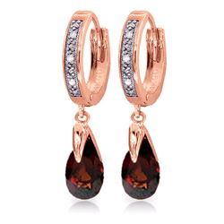 ALARRI 2.53 Carat 14K Solid Rose Gold Diamond Pear Garnet Drop Hoops