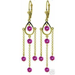 ALARRI 3 CTW 14K Solid Gold Gilded Age Pink Topaz Earrings
