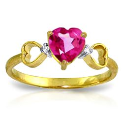 ALARRI 0.96 Carat 14K Solid Gold Ring Diamond Pink Topaz