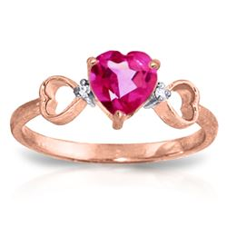 ALARRI 0.96 Carat 14K Solid Rose Gold Ring Diamond Pink Topaz