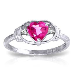 ALARRI 0.96 CTW 14K Solid White Gold Angel Standing By Pink Topaz Diamond Ring