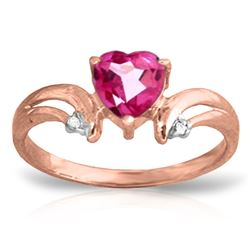 ALARRI 0.96 Carat 14K Solid Rose Heart Pink Topaz Diamond Ring