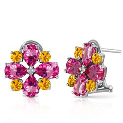 ALARRI 4.85 Carat 14K Solid White Gold French Clips Earrings Pink Topaz Citrine
