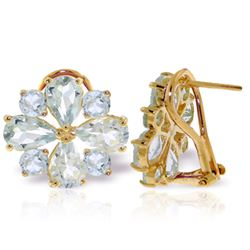 ALARRI 4.85 Carat 14K Solid Gold French Clips Earrings Natural Aquamarine