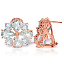 ALARRI 4.85 CTW 14K Solid Rose Gold French Clips Earrings Natural Aquamarine