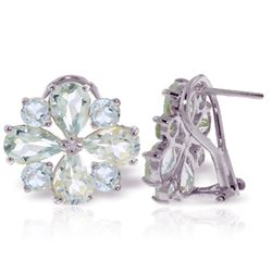 ALARRI 4.85 Carat 14K Solid White Gold French Clips Earrings Natural Aquamarine