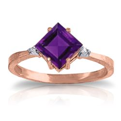 ALARRI 1.77 Carat 14K Solid Rose Gold Espirit Amethyst Diamond Ring