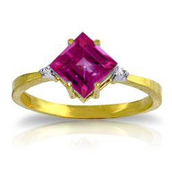 ALARRI 1.77 Carat 14K Solid Gold Take A Chance Pink Topaz Diamond Ring