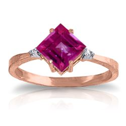 ALARRI 1.77 Carat 14K Solid Rose Gold Espirit Pink Topaz Diamond Ring